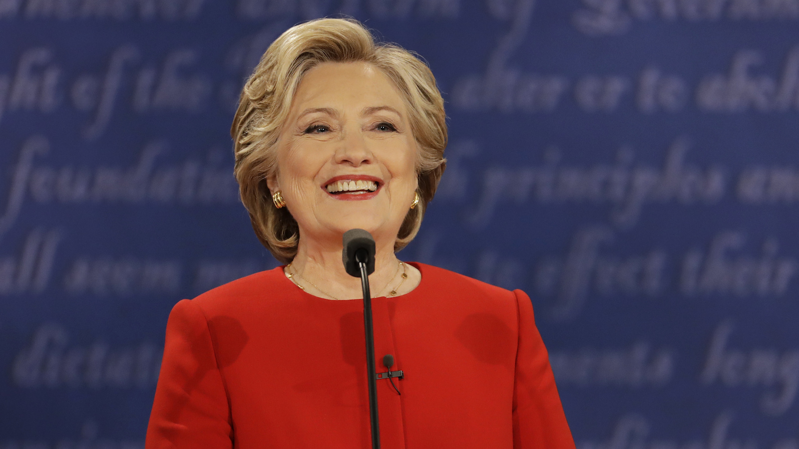 Democratic presidential nominee Hillary Clinton speaks during the presidential debate with Republican presidential nominee Donald Trump at Hofstra University in Hempstead, N.Y., Monday, Sept. 26, 2016. (AP Photo/Julio Cortez)