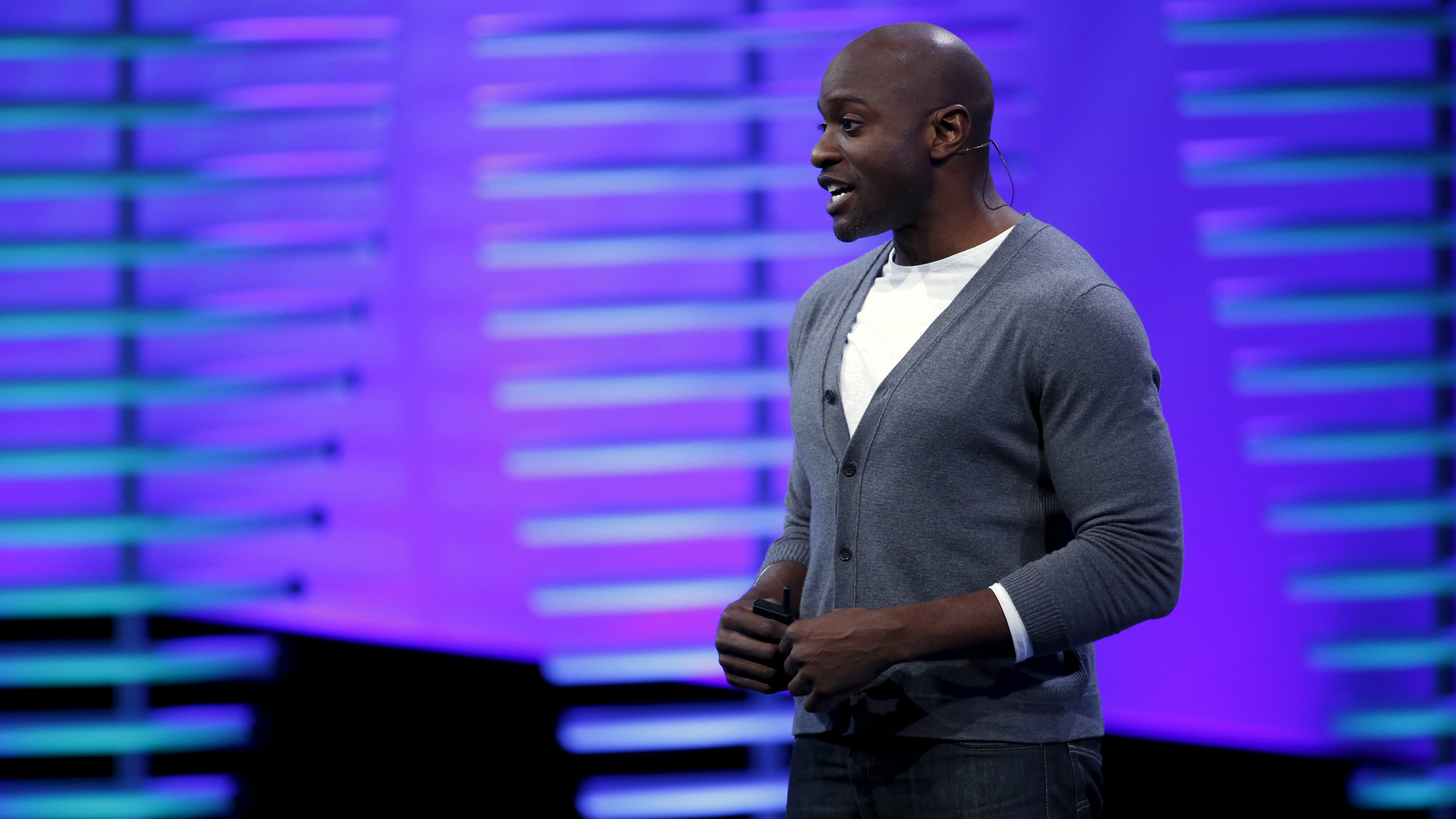 Ime Archibong, director of product partnerships at Facebook, speaks on stage during the Facebook F8 conference in San Francisco, California April 12, 2016.