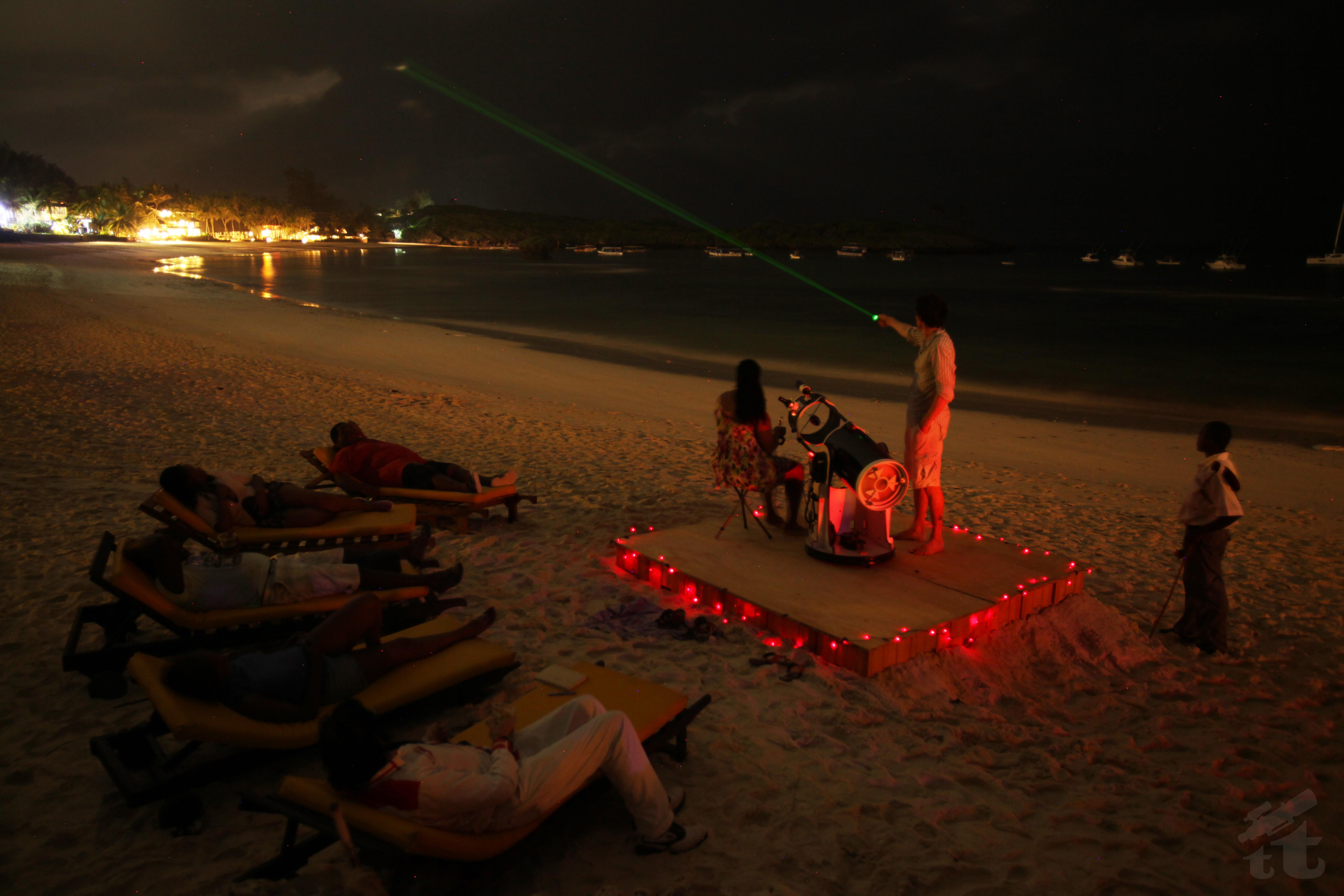 Beach stargazing at Ocean Sports Resort in Watamu, Kenya.
