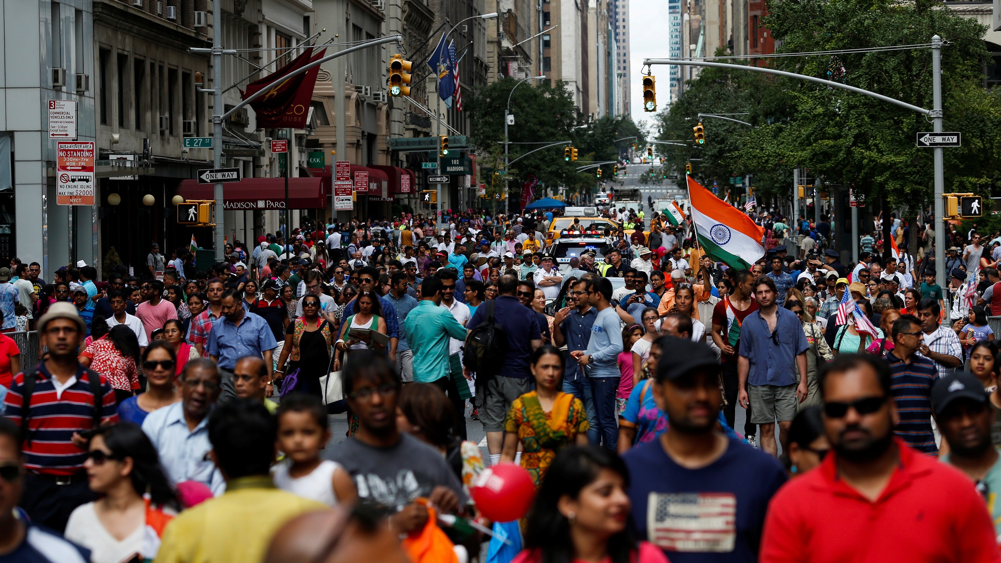 People take part in the annual India Day Parade in Manhattan, New York