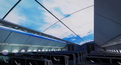 Projections of a day sky on the interior ceilings of a Boeing plane