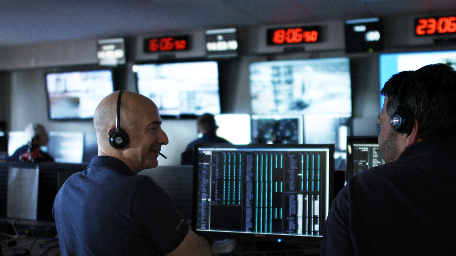 Jeff Bezos in the Blue Origin command center.
