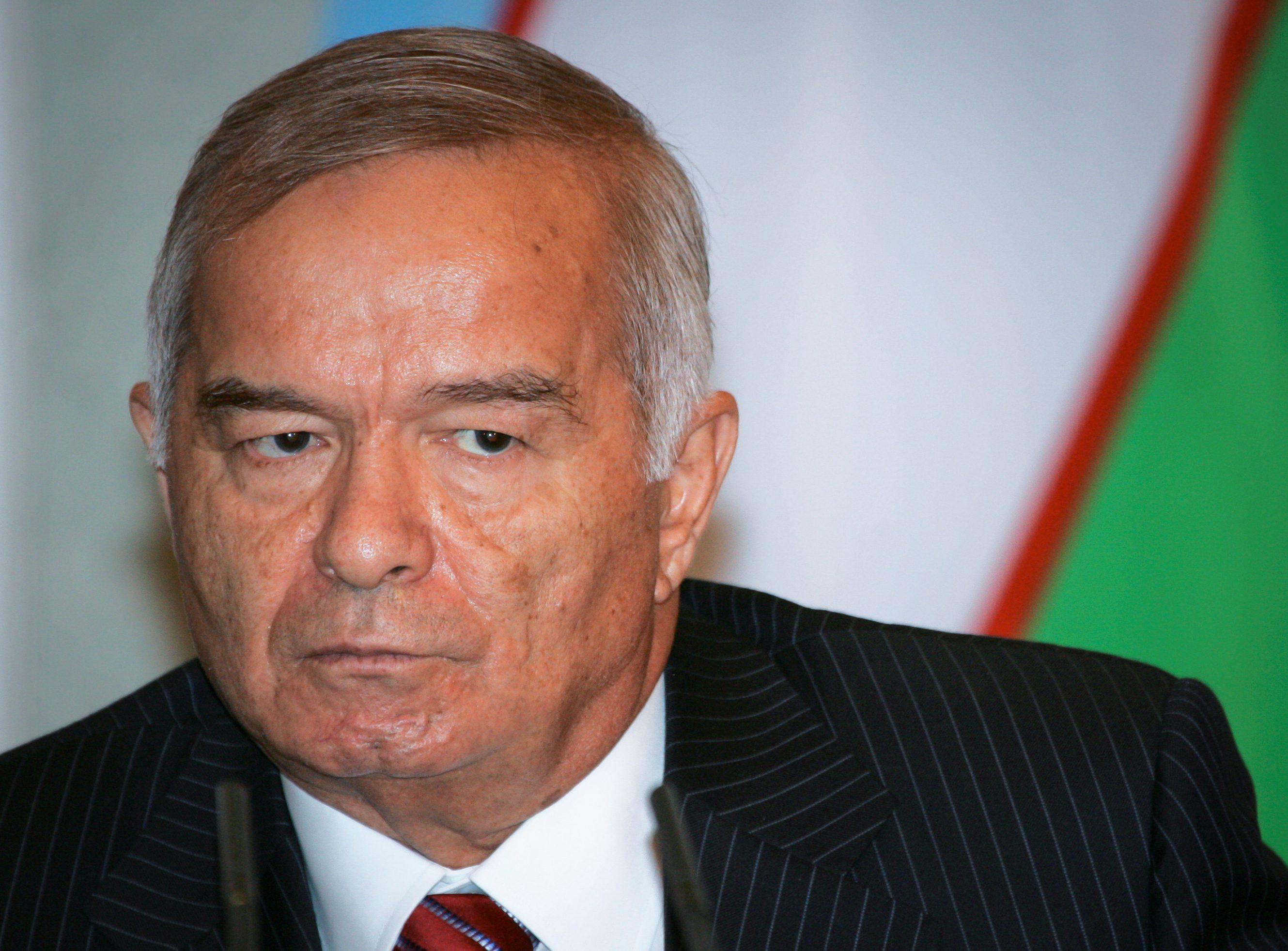 Uzbekistan President Islam Karimov attends news conference in Tashkent.