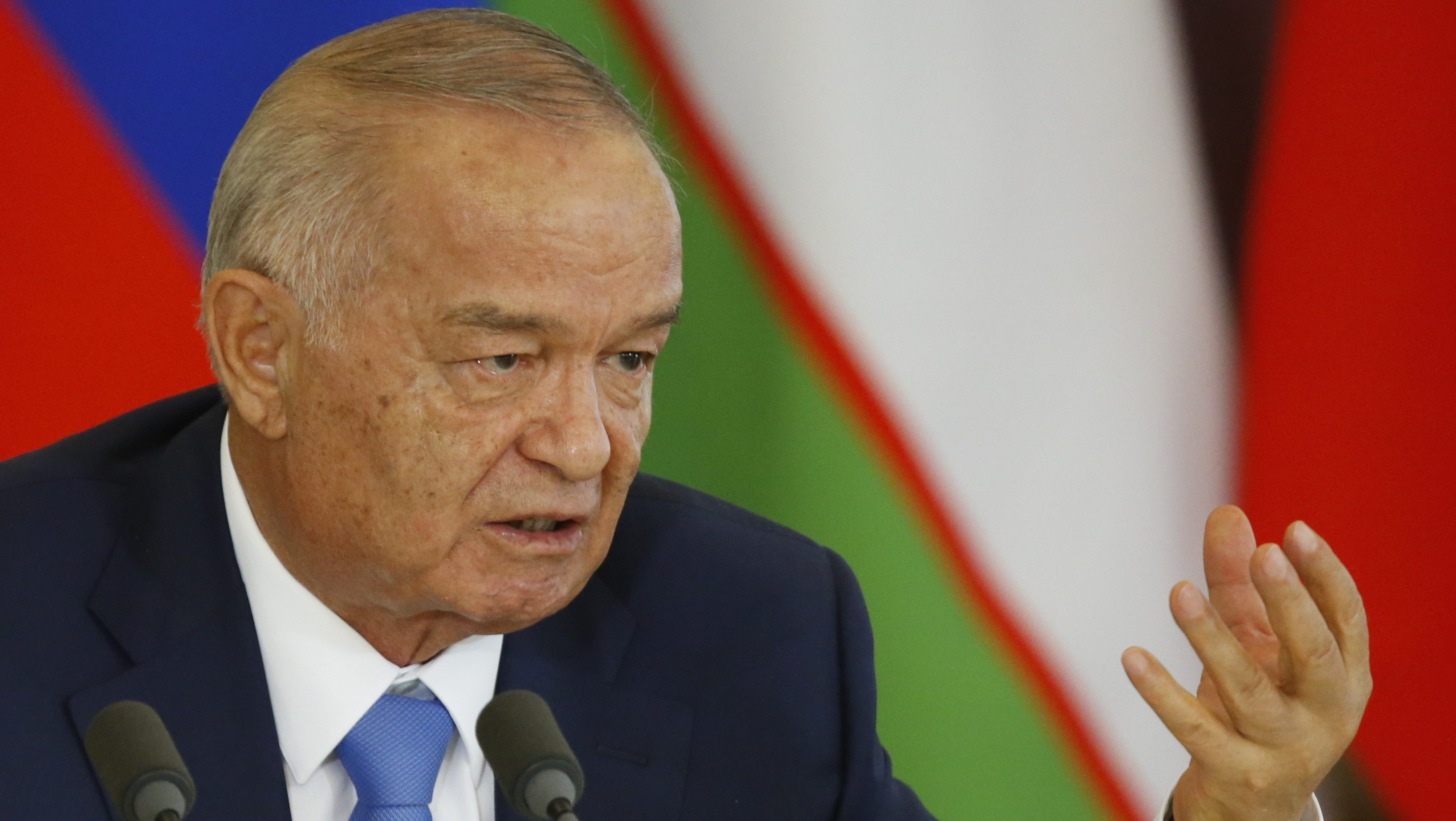Islam Karimov at a press conference in  2016