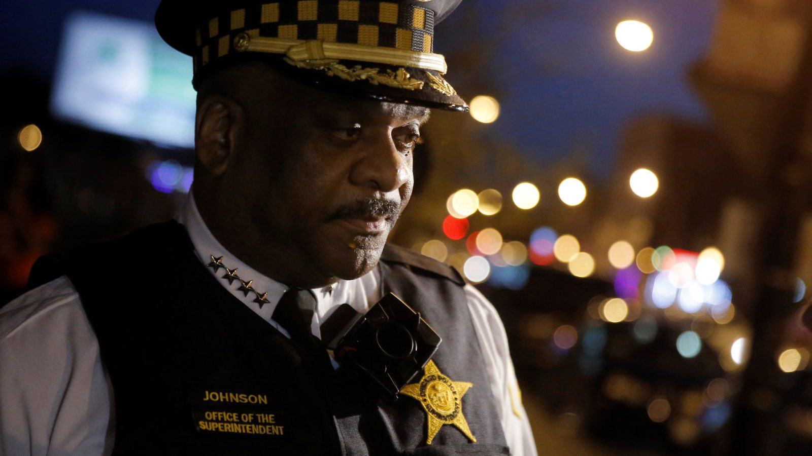 Chicago Police Superintendent Eddie Johnson listens to a question about patrolling a neighborhood while wearing a body camera in Chicago, Illinois, United States, May 6, 2016.     REUTERS/Jim Young  - RTX2D748
