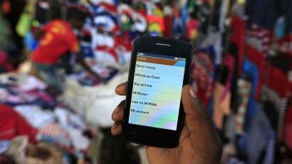 Phone showing m-pesa the mobile payment system