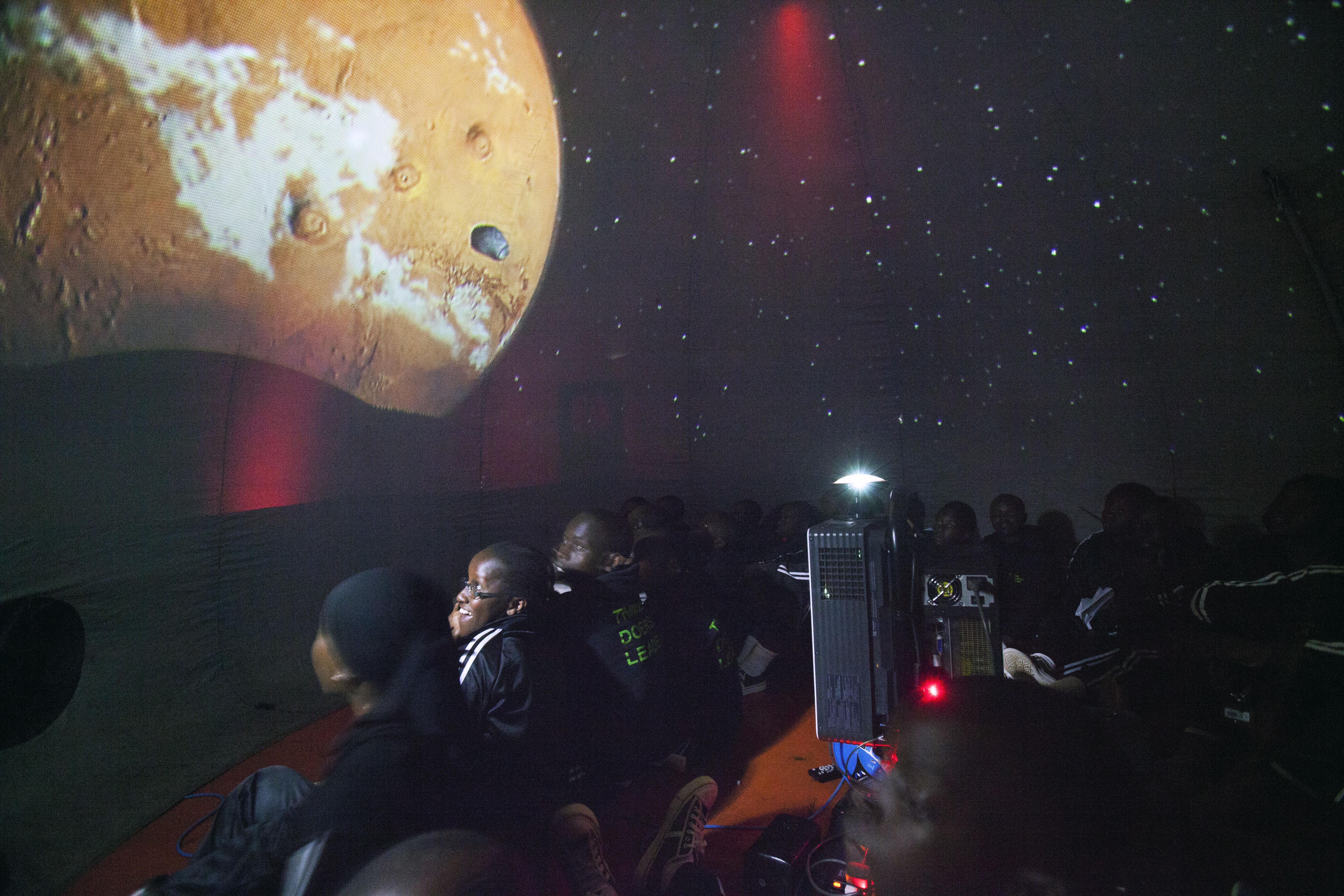 Inside the mobile planetarium