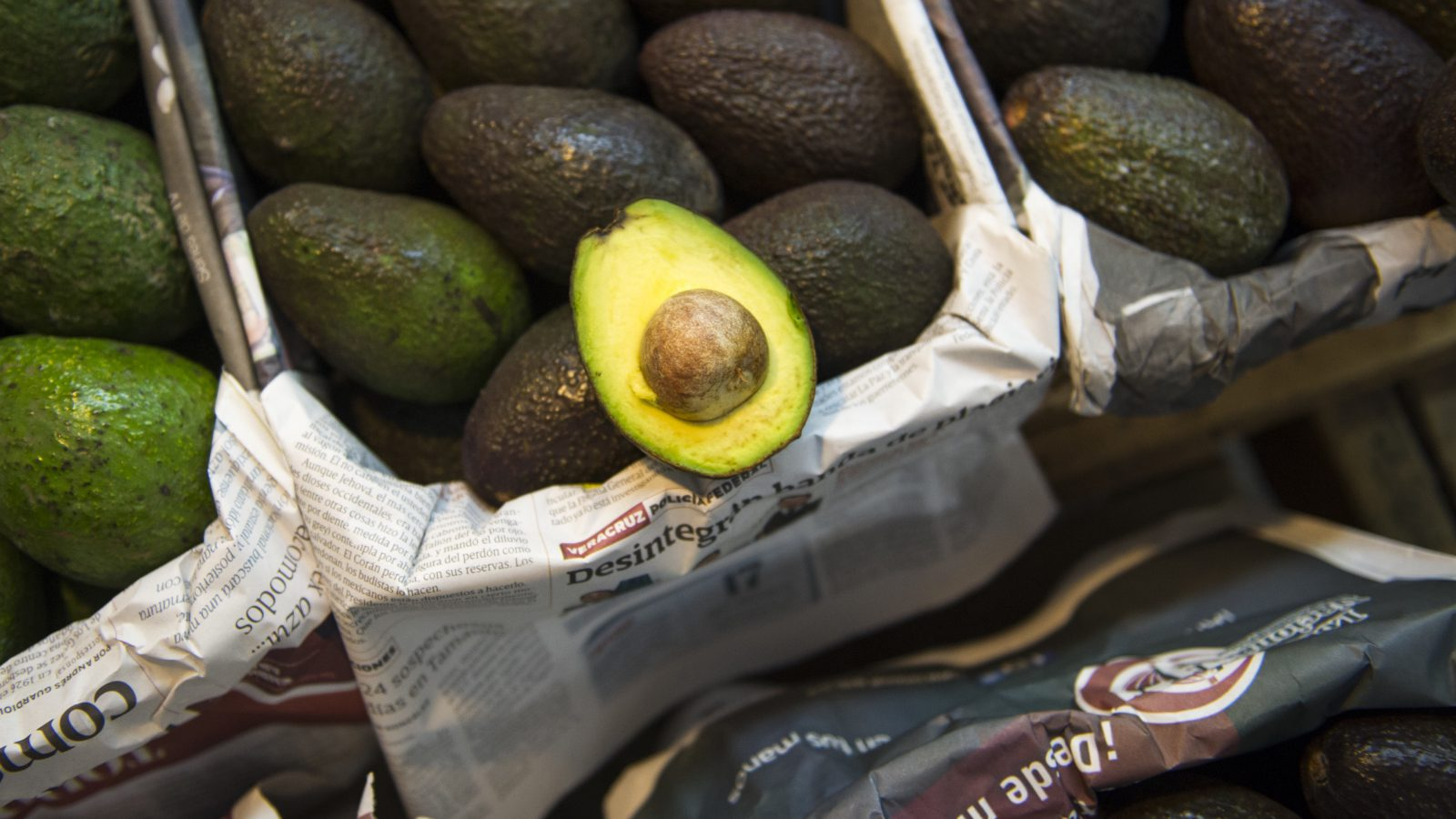 Avocados are displayed for sale in a large market in Mexico City