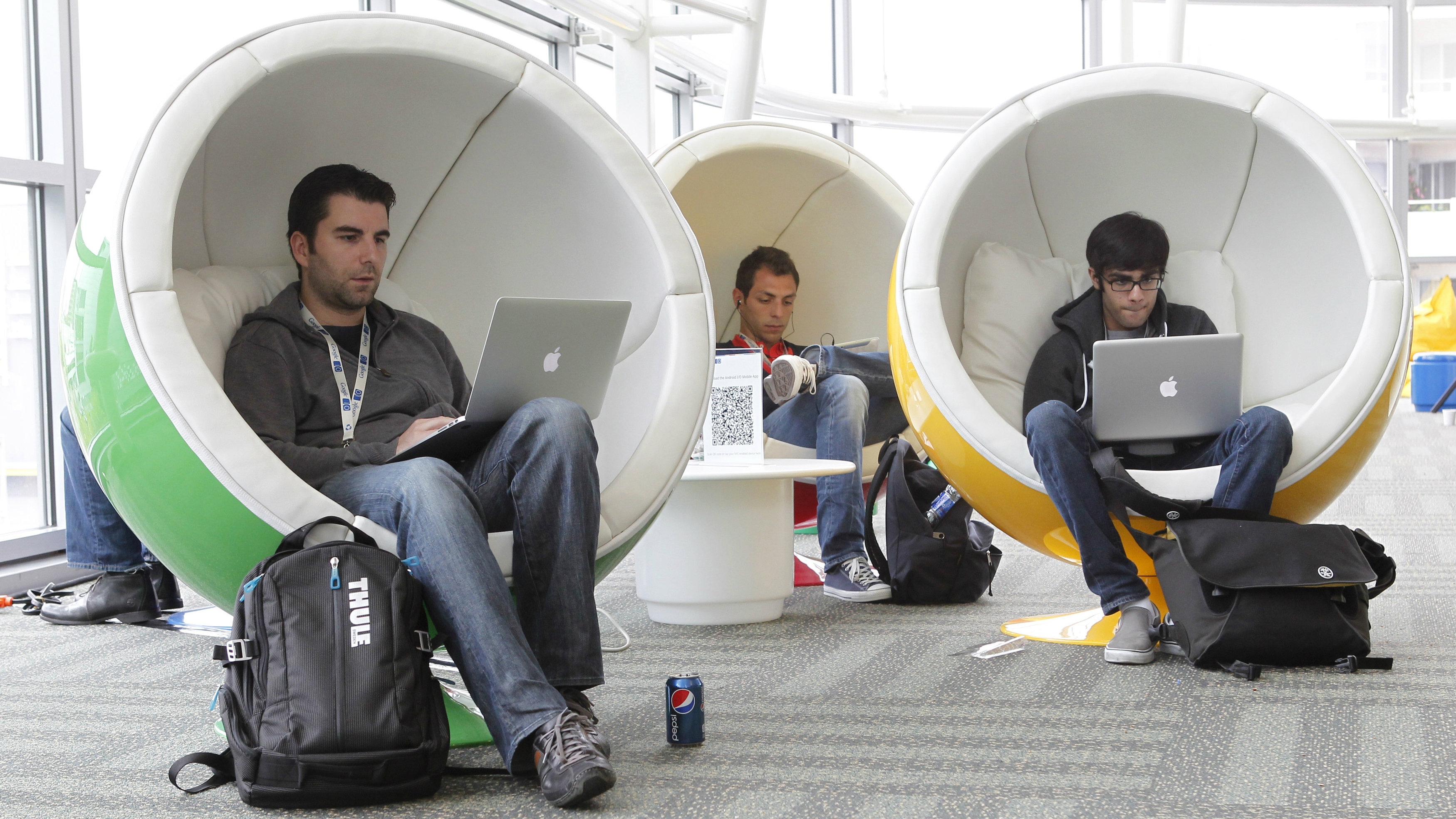 Matthias Klabbenbach (L), of eBay, Massimo Paladin (2nd L), of Cern, and Shahruz Shaukat, of University of California at Davis, take a break between events at the Google I/O Developers Conference in the Moscone Center in San Francisco, California, May 11, 2011. REUTERS/Beck Diefenbach (UNITED STATES - Tags: SCI TECH BUSINESS)