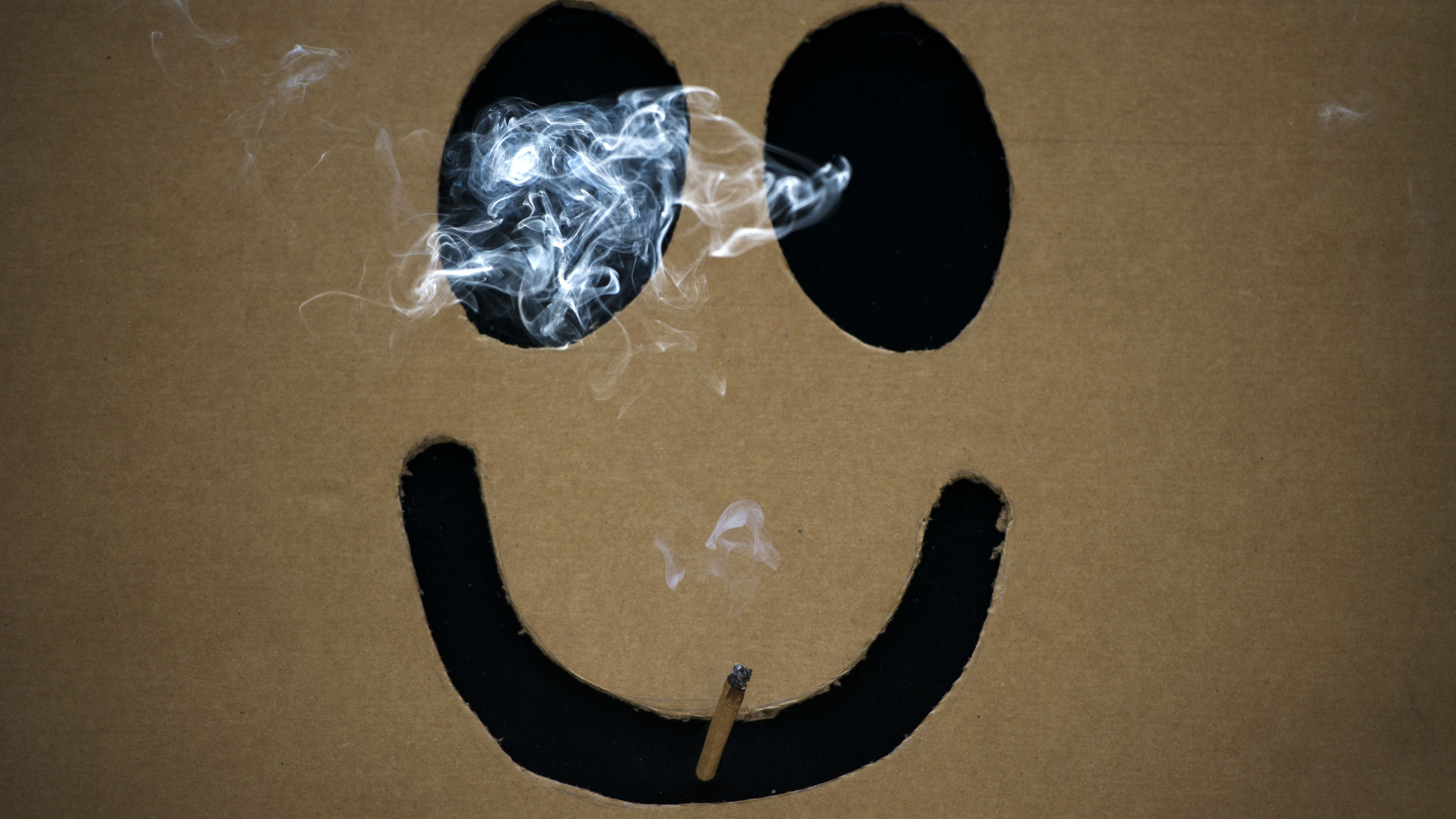 A man smokes a marijuana joint inside a box with a happy face cut out before The Global Marijuana March in Toronto, May 7, 2011.