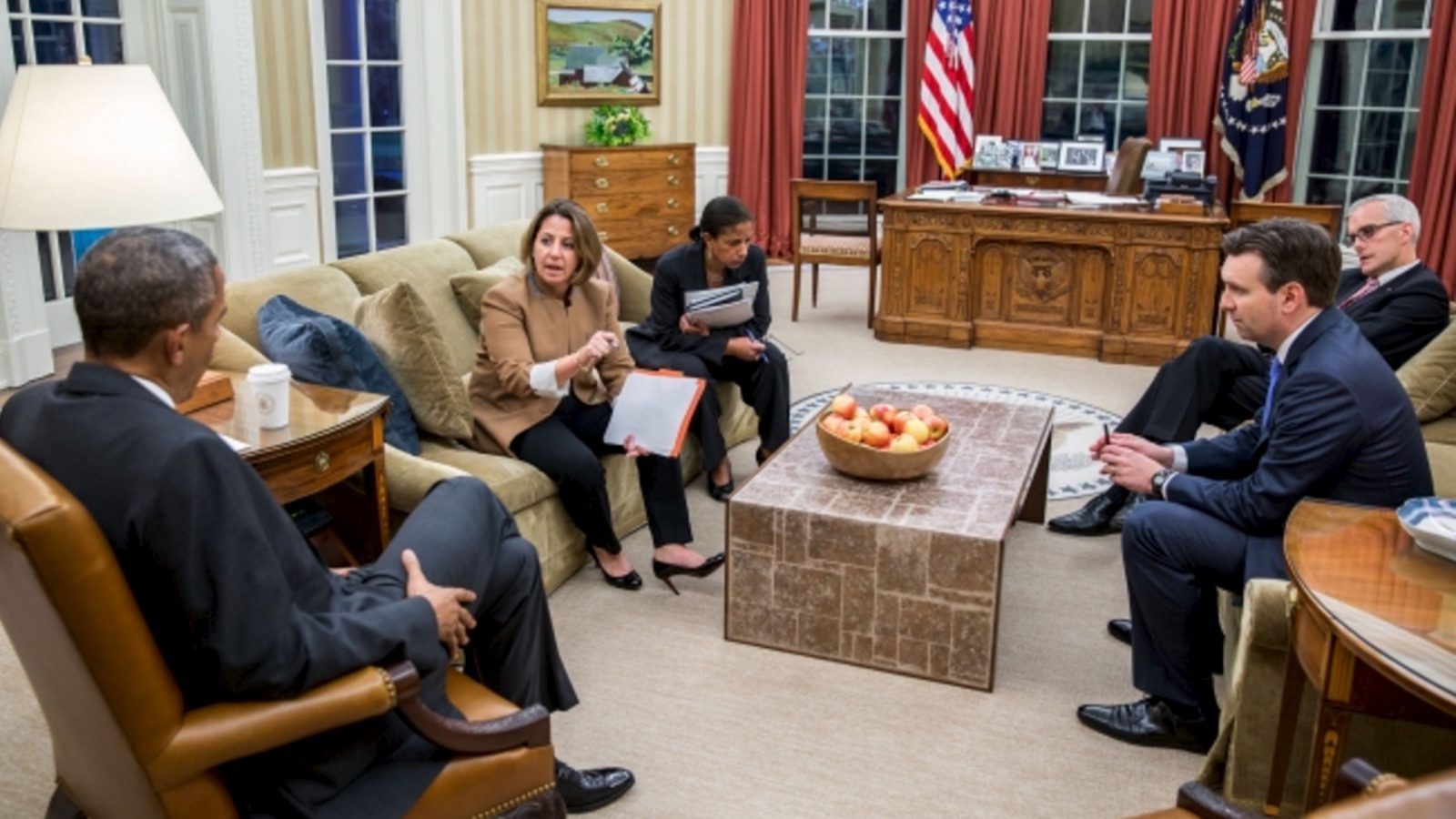 U.S. President Barack Obama is briefed on the Paris attacks by Lisa Monaco (2nd L), Assistant to the President for Homeland Security and Counter-terrorism, in the White House Oval Office in Washington, DC November 13, 2015. Obama pledged his government's support to France on Friday after a series of attacks in Paris, but said he did not yet know the details of what had happened and that the situation was still unfolding. Also attending the briefing were National Security Advisor Susan E. Rice (C), Chief of Staff Denis McDonough and Press Secretary Josh Earnest. REUTERS/White House/Pete Souza/Handout via ReutersATTENTION EDITORS - THIS PICTURE WAS PROVIDED BY A THIRD PARTY. REUTERS IS UNABLE TO INDEPENDENTLY VERIFY THE AUTHENTICITY, CONTENT, LOCATION OR DATE OF THIS IMAGE. IT IS DISTRIBUTED EXACTLY AS RECEIVED BY REUTERS, AS A SERVICE TO CLIENTS. EDITORIAL USE ONLY. NOT FOR SALE FOR MARKETING OR ADVERTISING CAMPAIGNS. - RTS6XST