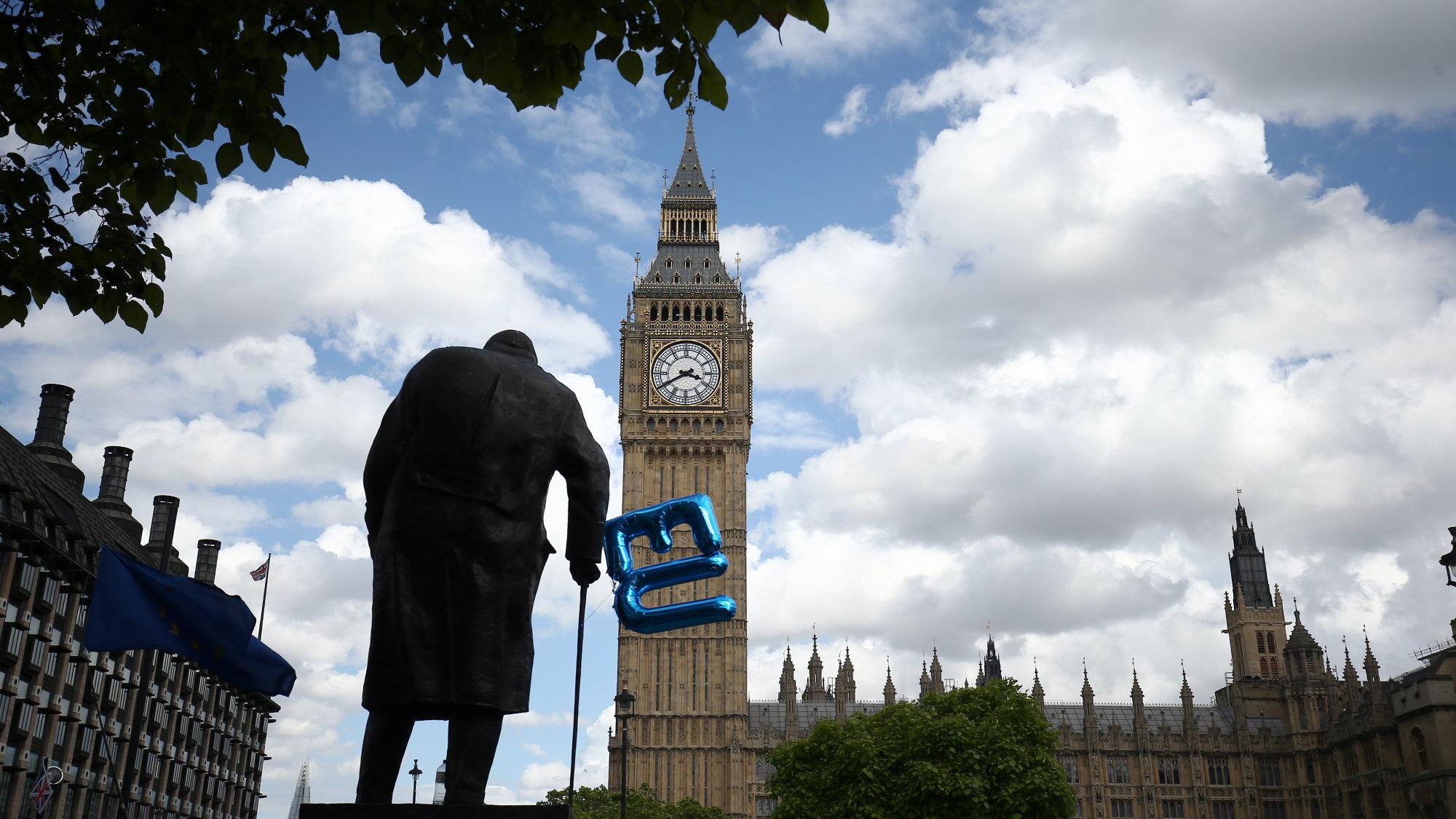 EU balloon outside UK Parliament