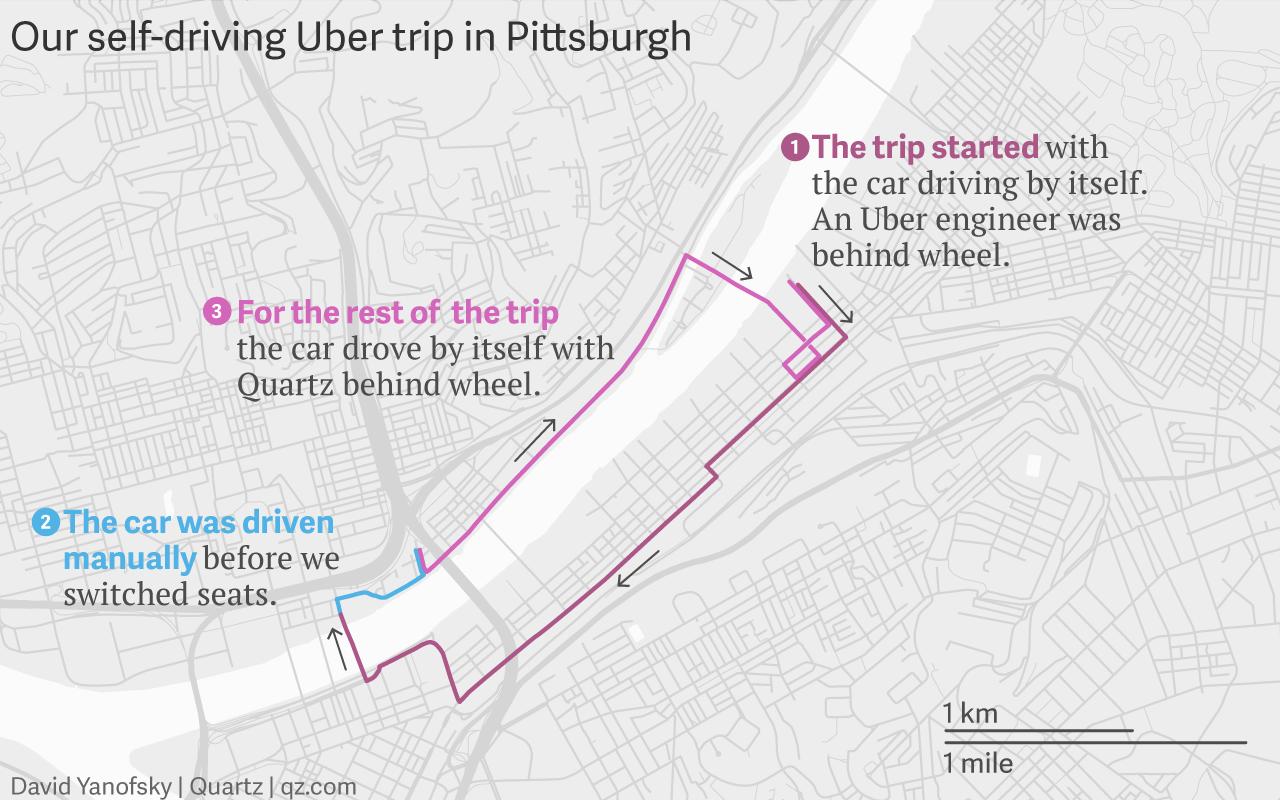 Pittsburgh self-driving Uber trip map