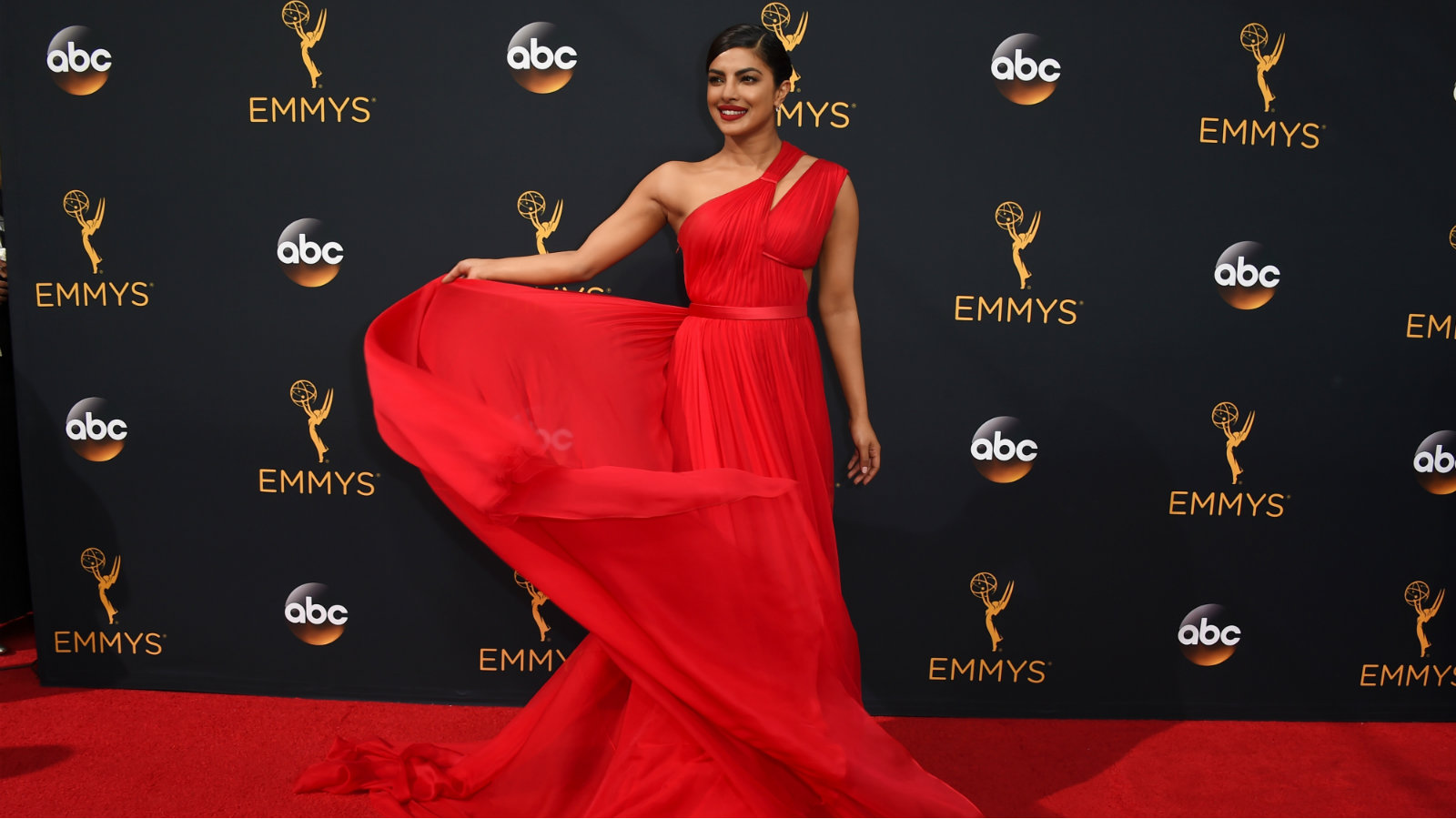 Priyanka Chopra arrives at the 68th Primetime Emmy Awards on Sunday, Sept. 18, 2016, at the Microsoft Theater in Los Angeles.