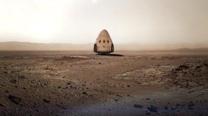 A SpaceX rendering of a Dragon spacecraft on the surface of Mars.