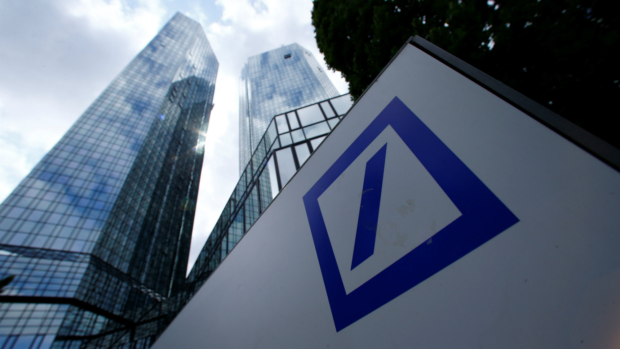 A Deutsche Bank logo adorns a wall at the company's headquarters in Frankfurt, Germany.