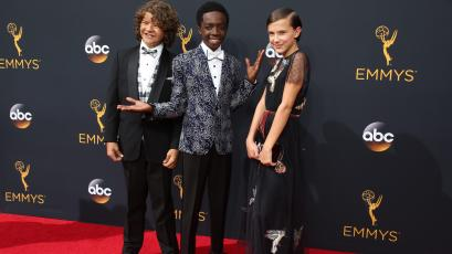 """Actors Gaten Matarazzo, Caleb McLaughlin and Millie Bobby Brown from the Netflix series """"Stranger Things"""" arrive at the 68th Primetime Emmy Awards in Los Angeles, California"""