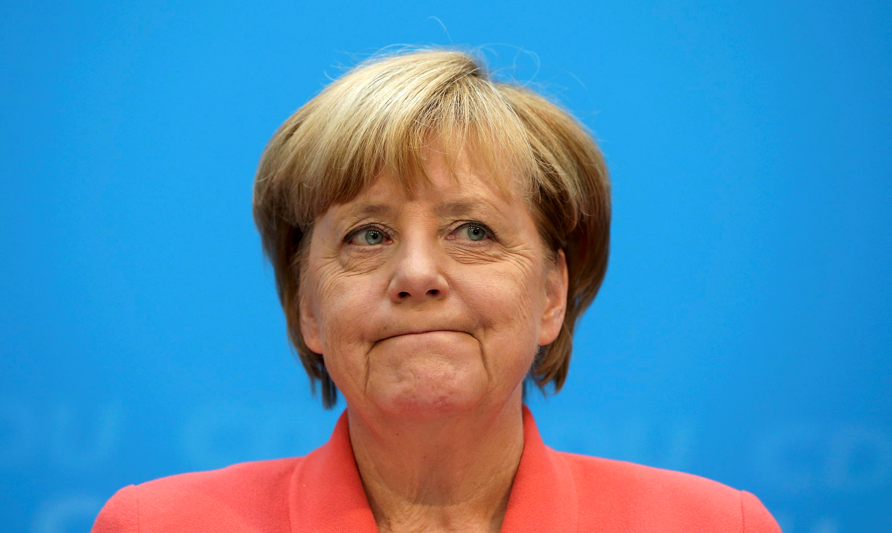 Chancellor and CDU chairwoman Merkel addresses a news conference in Berlin