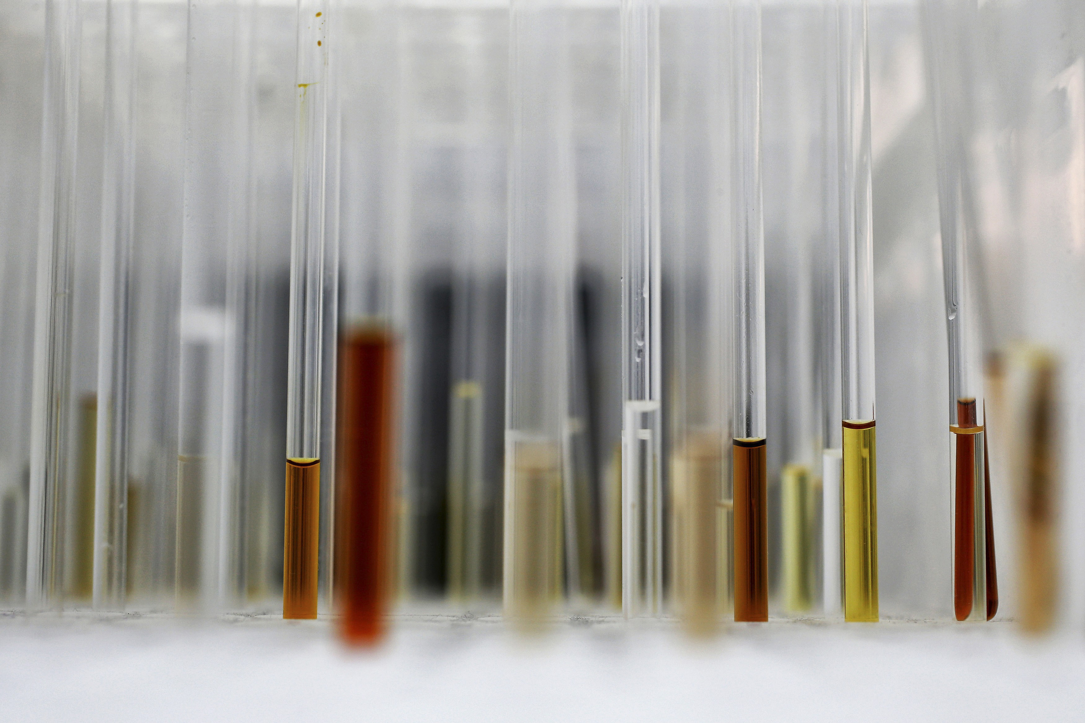 Sample analysis tubes are seen in a lab at the Institute of Cancer Research in Sutton