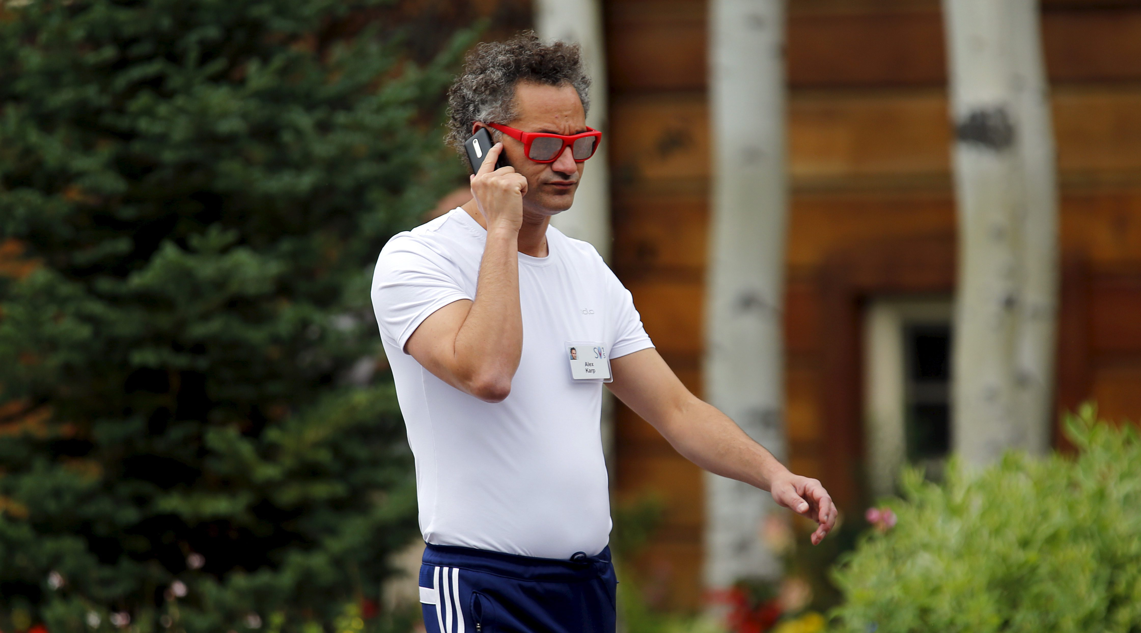 Alexander Karp, American billionaire businessman and co-founder and CEO of the software firm Palantir Technologies arrives for the the annual Allen and Co. media conference Sun Valley