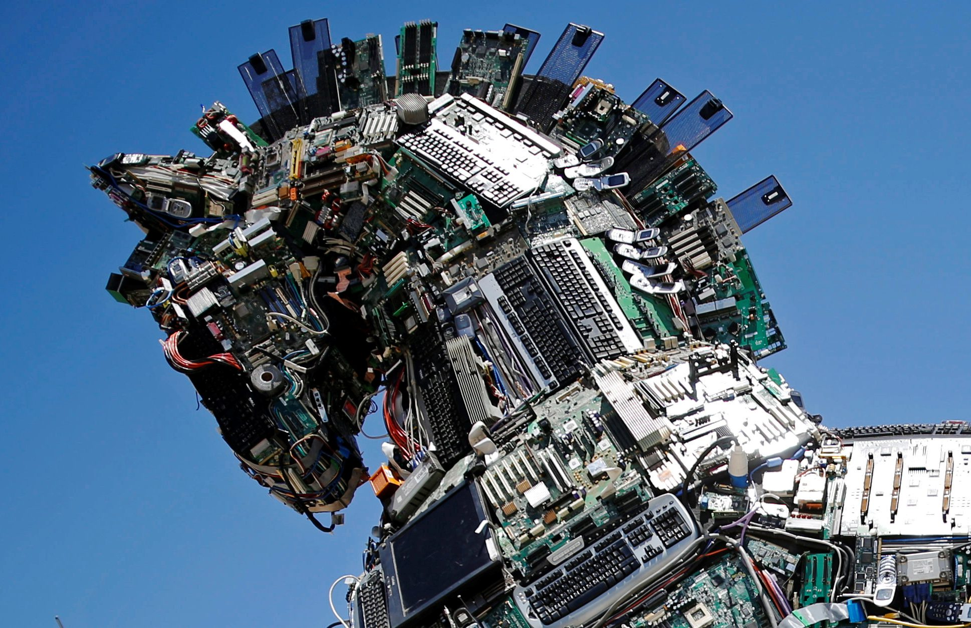 "A close-up of the head of a ""Cyber Horse"", made from thousands of infected computer and cell phone bits, is seen on display at the entrance to the annual Cyberweek conference at Tel Aviv University"
