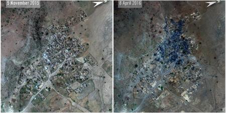 Satellite imagery shows burnt areas of Nuoguey after an attack by government forces.