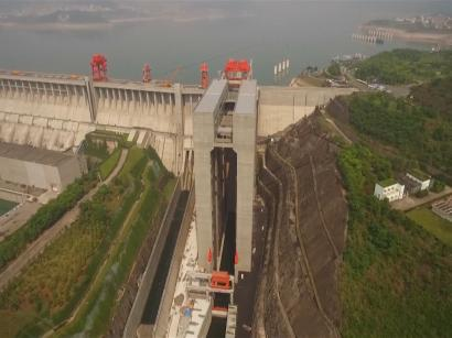 A ship elevator at the Three Gorges Dam in China is an