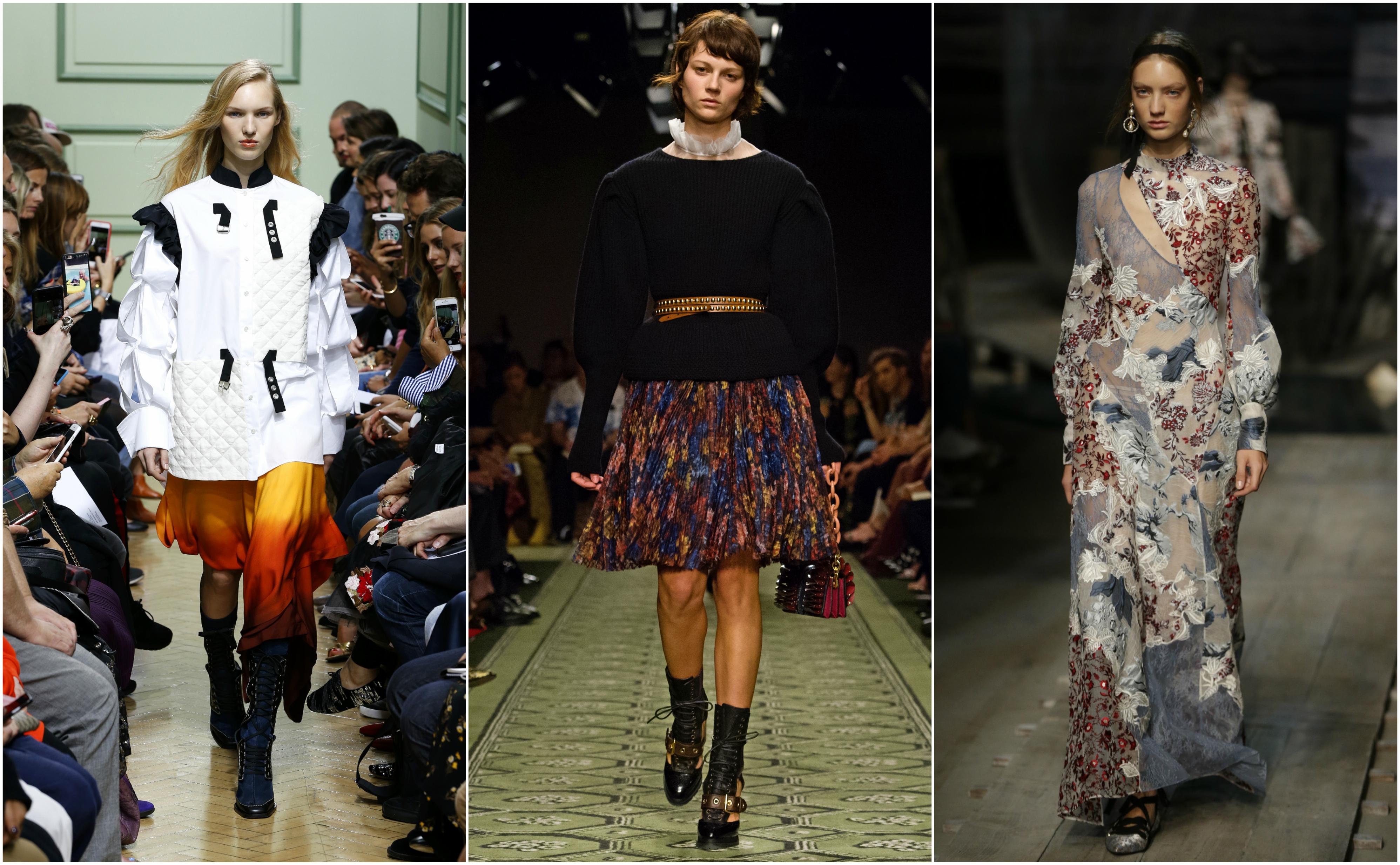 Models walk the runway at London Fashion Week in Sep. 2016