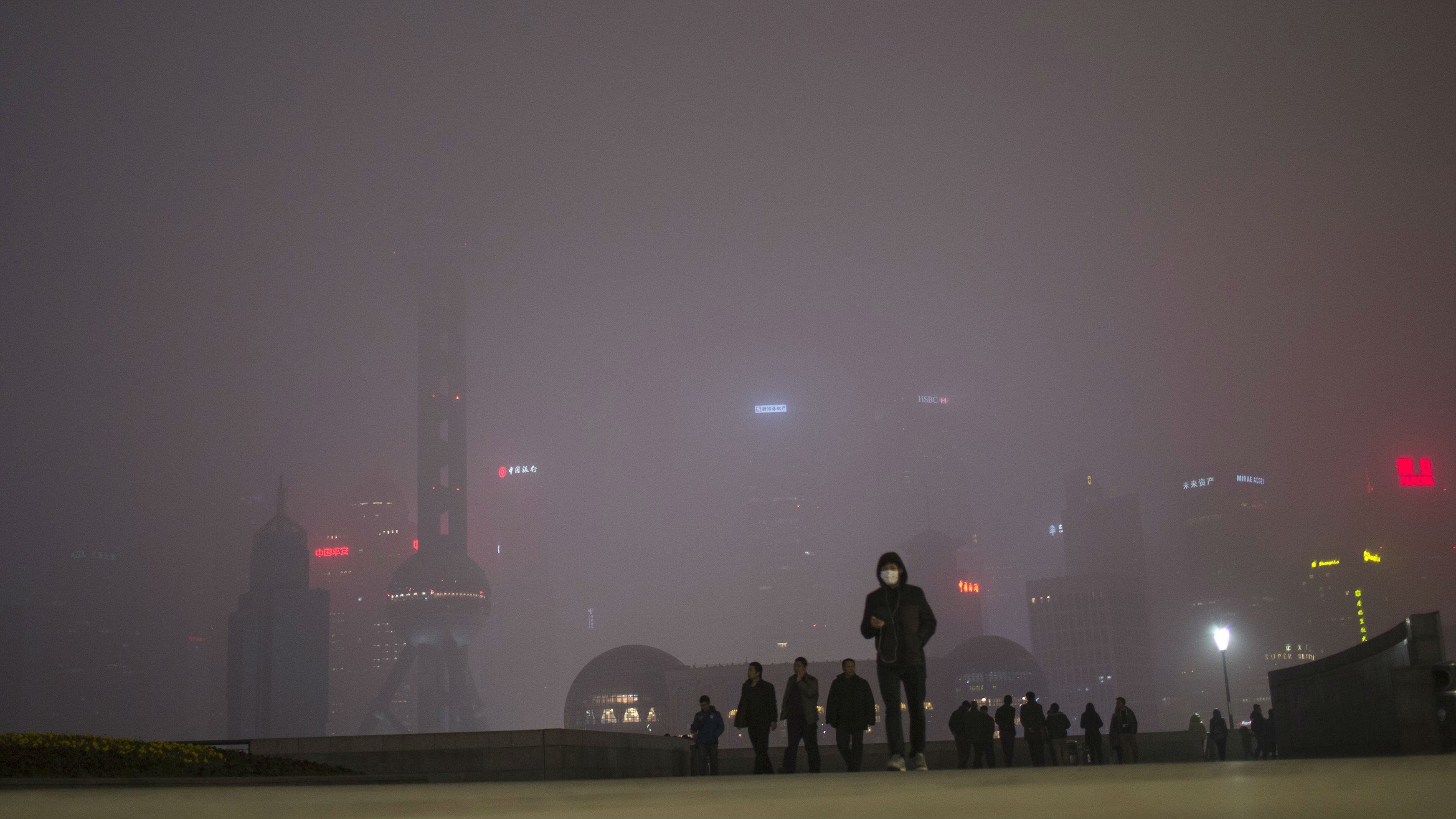 "A man wears a face mask while walking on the Bund in front of the financial district of Pudong, during a hazy day in downtown Shanghai January 25, 2015. China's pollution crisis has inspired an environmental regulator in a smog-blanketed northern province to write a novel whose extracts have gone viral online, spurring plans for two more books. ""Smog Is Coming"", published last June, touches on fraud and bureaucracy and their impact on air pollution, with the official China Daily reporting that online excerpts have received tens of millions of pageviews."