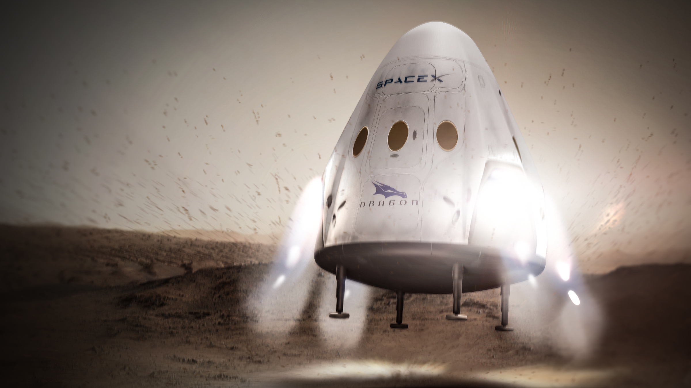 An artist's conception of a Dragon spacecraft landing on Mars.