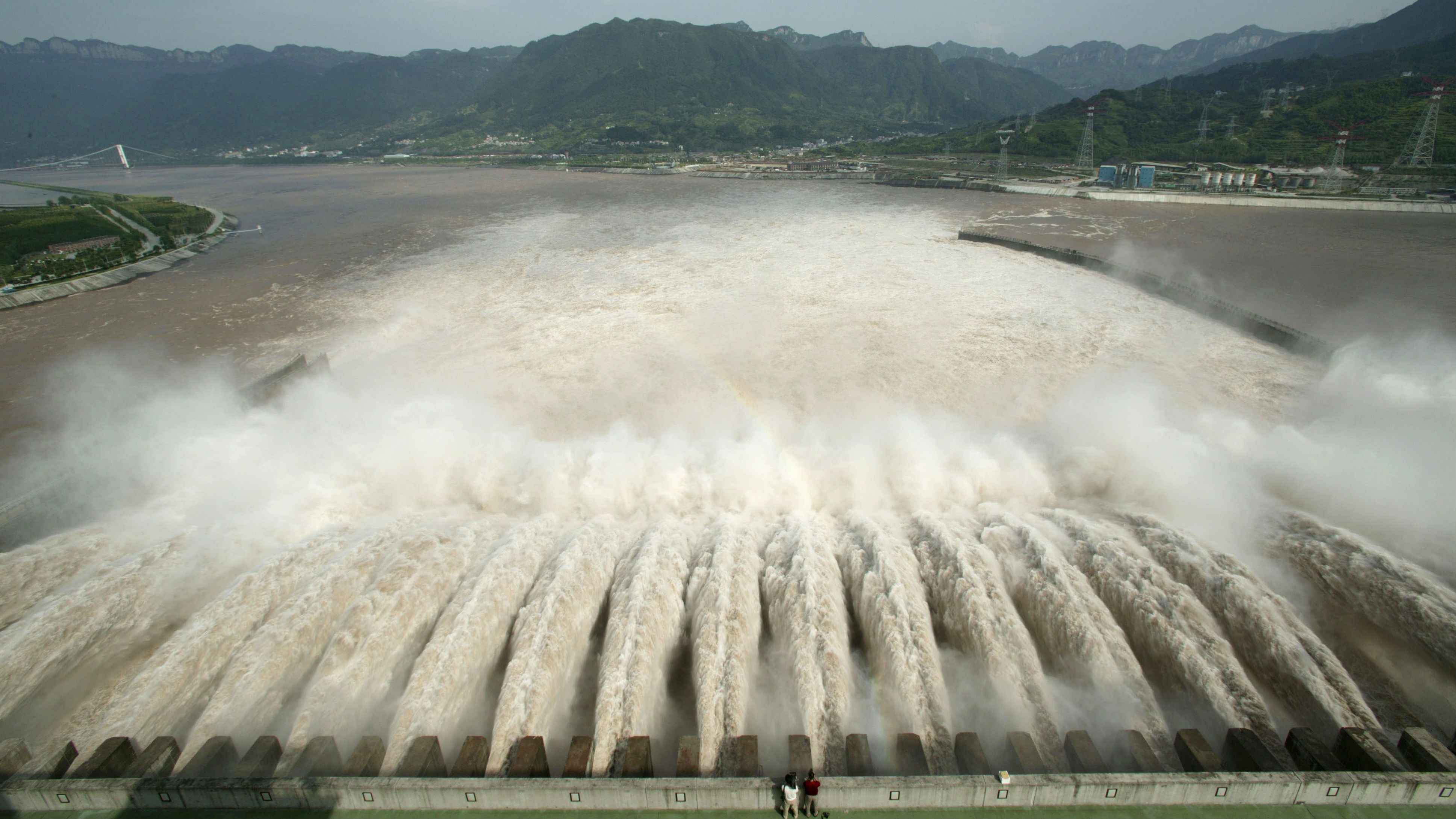 A view of water gushing into the Yangtze River in China.