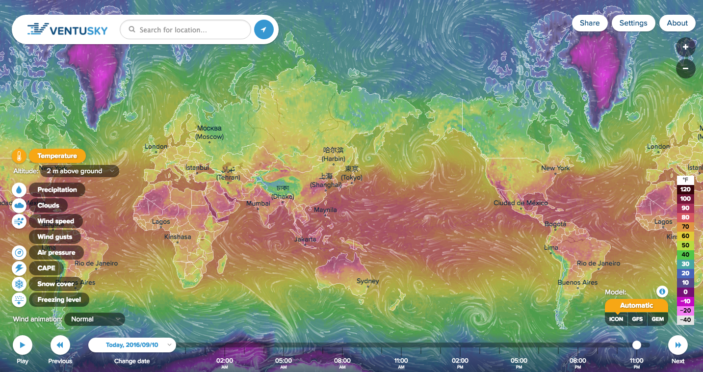 InMeteos Ventusky Map Beautiful Visualization Of Realtime Global - Interactive global map
