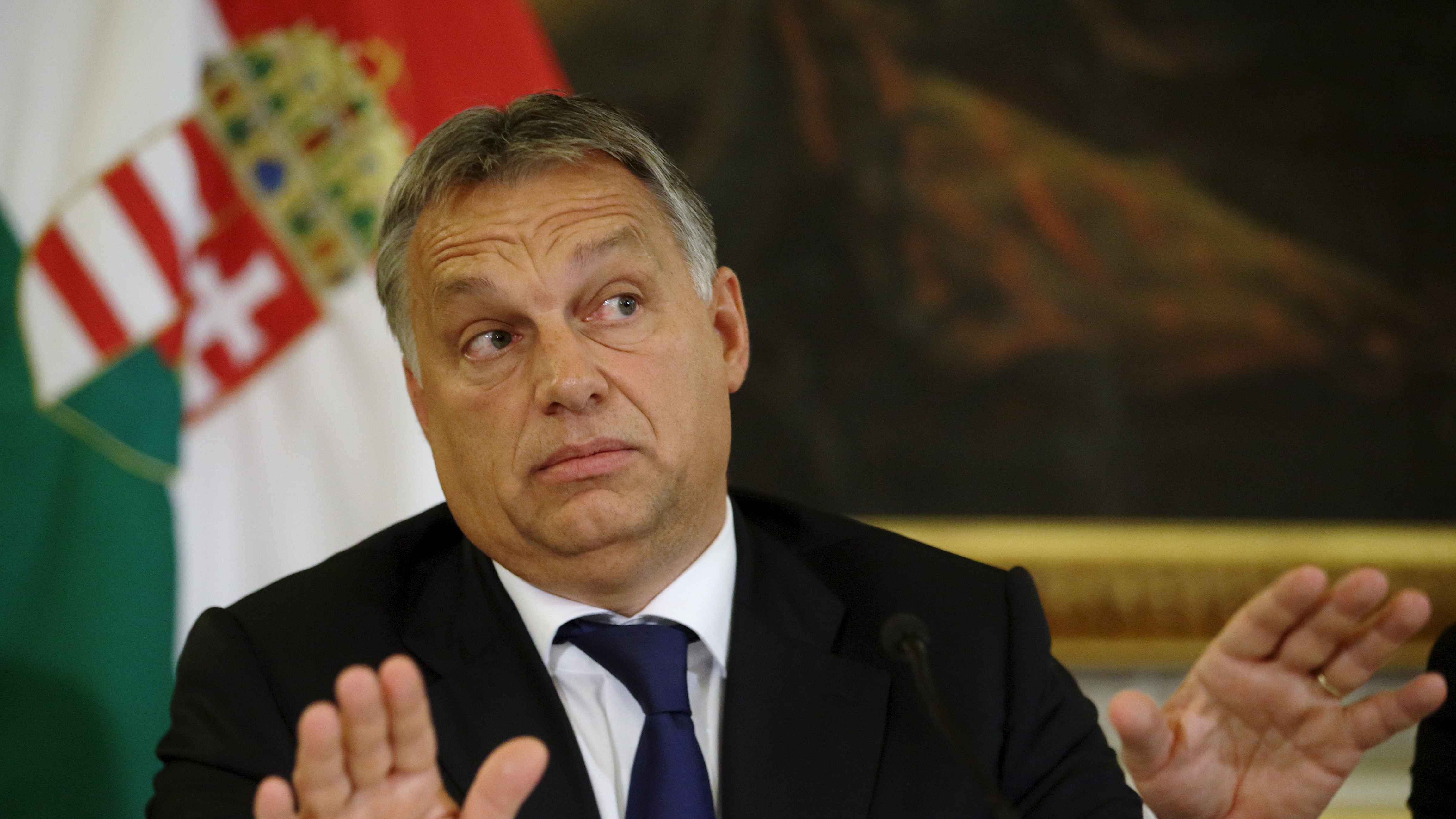 Hungary's Prime Minister Viktor Orban addresses a news conference in Vienna, Austria, September 25, 2015. Hungary will seek support for its efforts to try to block the flood of migrants on its southern border with Croatia, similar to the measures implemented on its border with Serbia, Prime Minister Viktor Orban said in Vienna on Frida