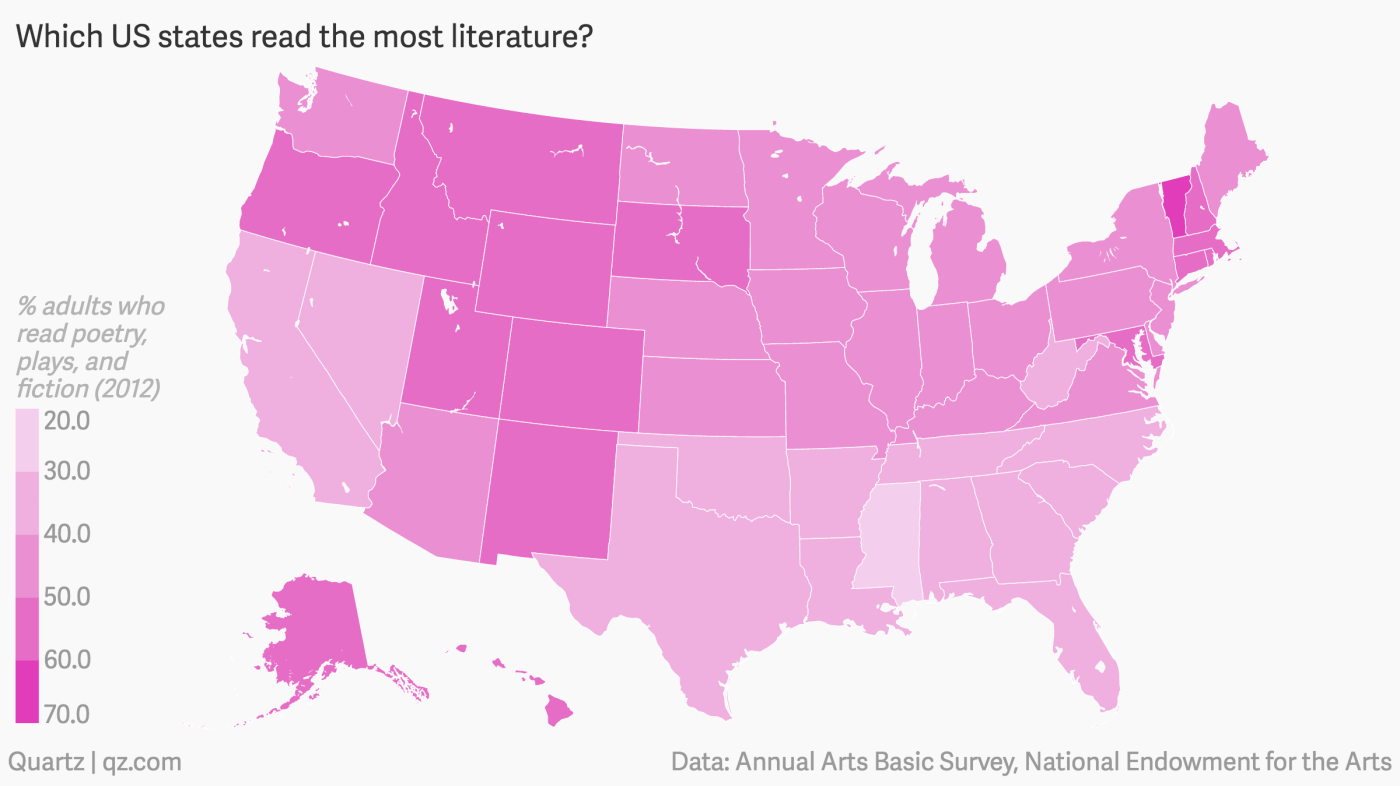 Map: Which US states read the most? — Quartz