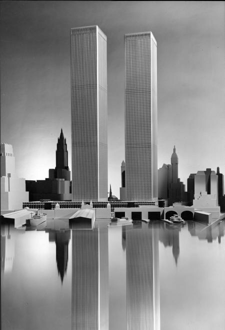 Architectural rendering of the World Trade Center by Minoru Yamasaki chief architect of the twin towers, from the Minoru Yamasaki Papers.