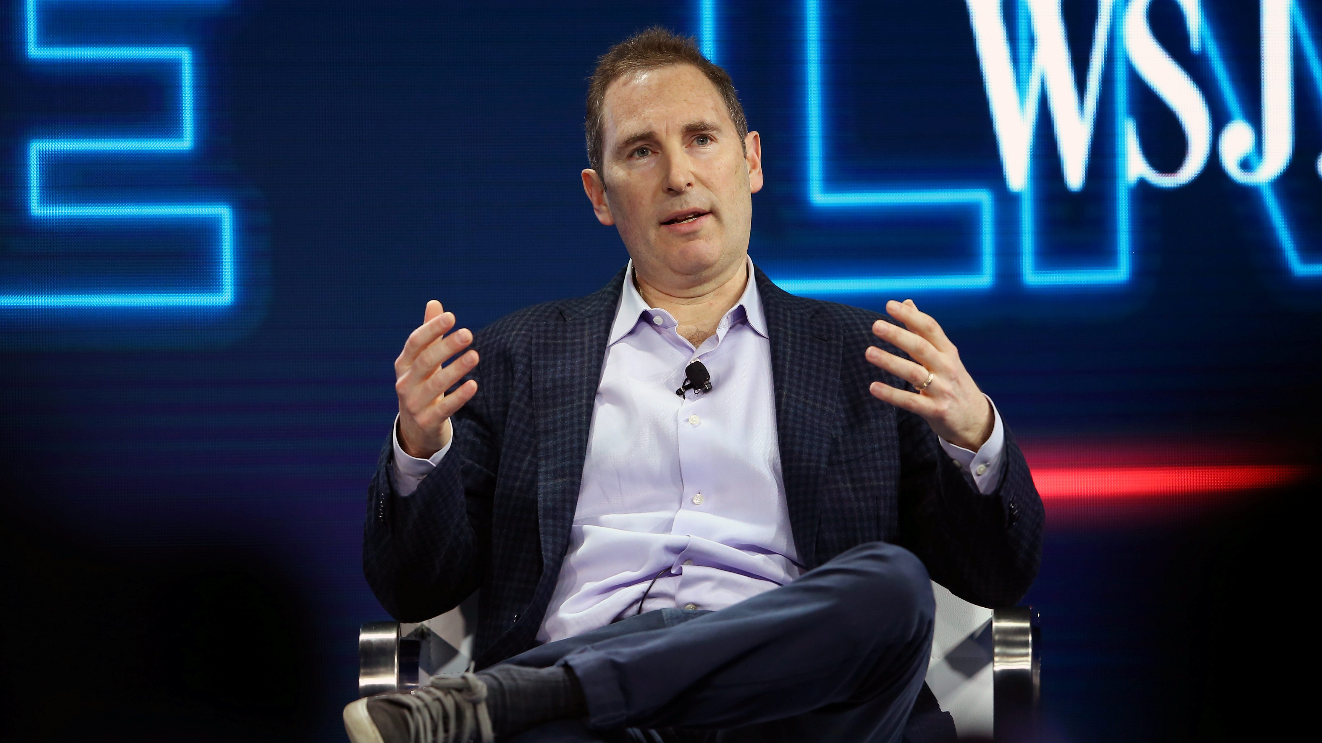 Andy Jassy, CEO Amazon Web Services, speaks at the WSJD Live conference in Laguna Beach, California, U.S., October 25, 2016.     REUTERS/Mike Blake - RTX2QDWK
