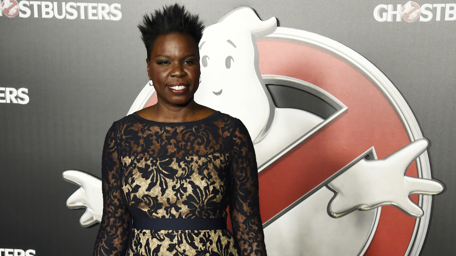 "Leslie Jones, a cast member in the upcoming film ""Ghostbusters,"" poses backstage during the Sony Pictures Entertainment presentation at CinemaCon 2016, the official convention of the National Association of Theatre Owners (NATO), at Caesars Palace on Tuesday, April 12, 2016, in Las Vegas. (Photo by Chris Pizzello/Invision/AP)"