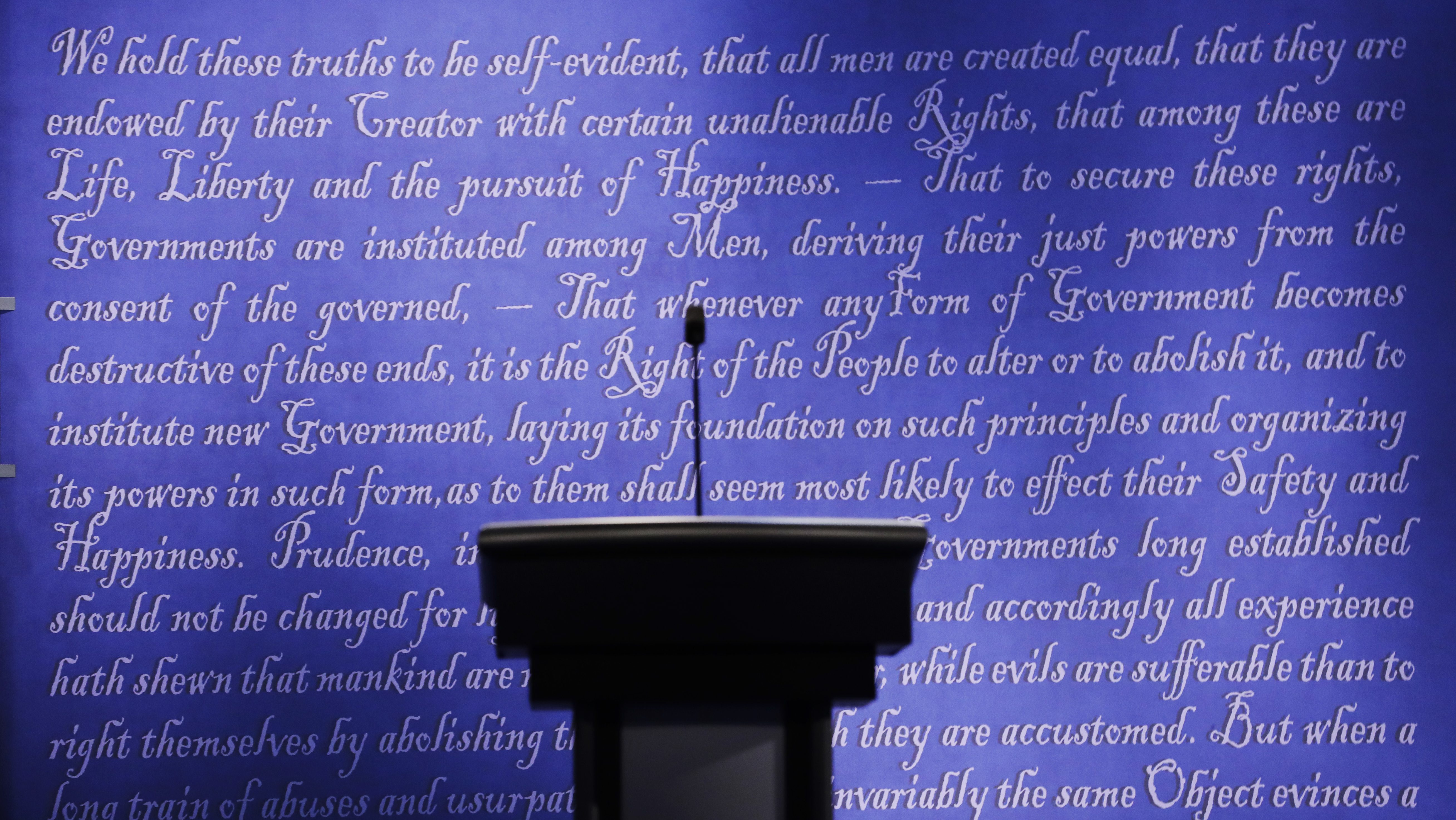The stage is set for the presidential debate between Democratic presidential candidate Hillary Clinton and Republican presidential candidate Donald Trump at Hofstra University in Hempstead, N.Y., Sunday, Sept. 25, 2016. (AP Photo/Patrick Semansky)