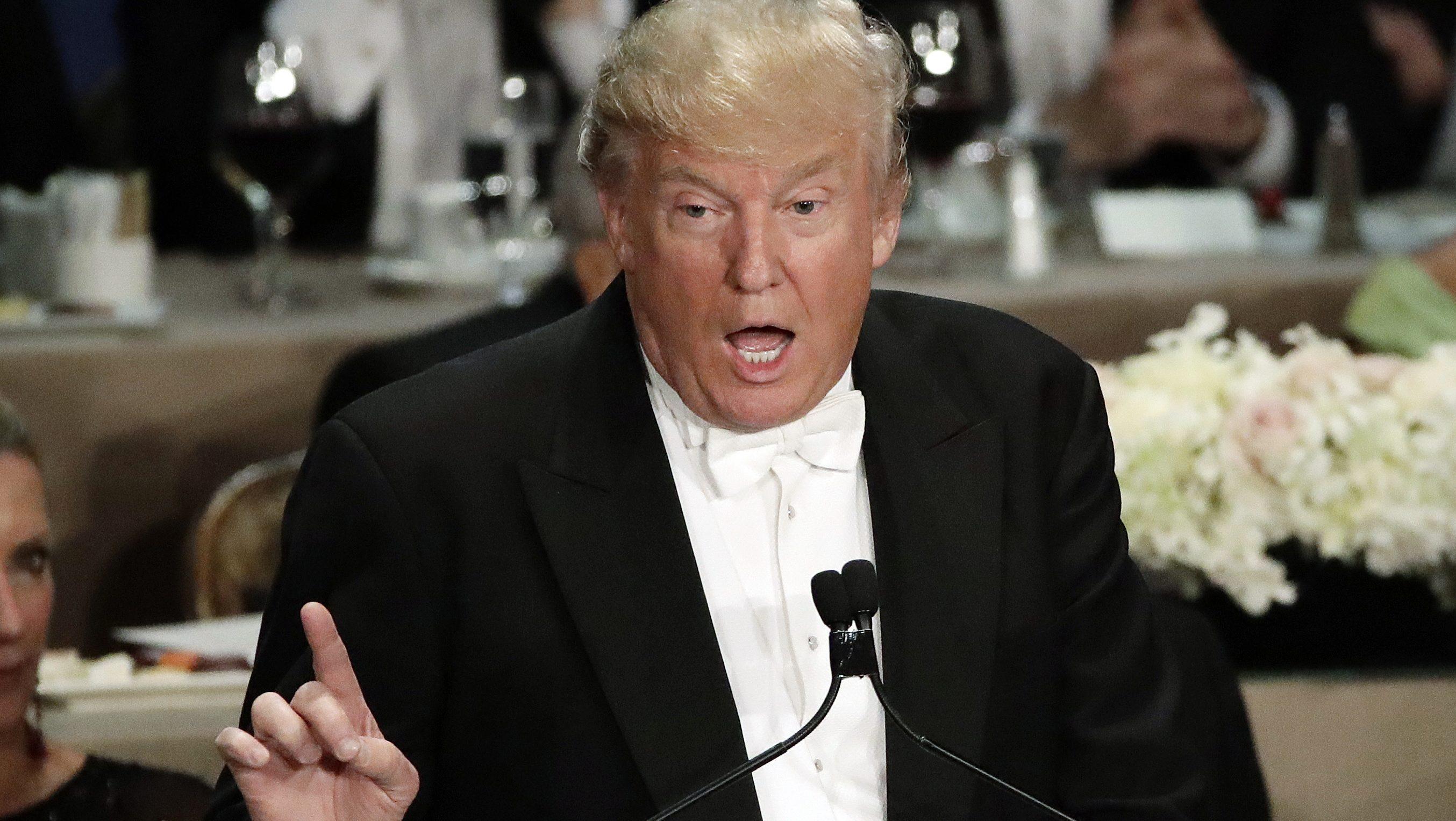 Donald Trump at the lectern.