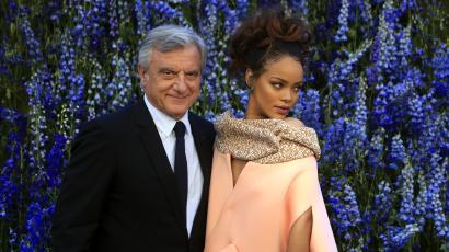 Singer Rihanna poses with Dior president and CEO Sidney Toledano before Christian Dior's Spring-Summer 2016 ready-to-wear fashion collection presented during the Paris Fashion Week, in Paris, France, Friday, Oct. 2, 2015. (AP Photo/Thibault Camus)
