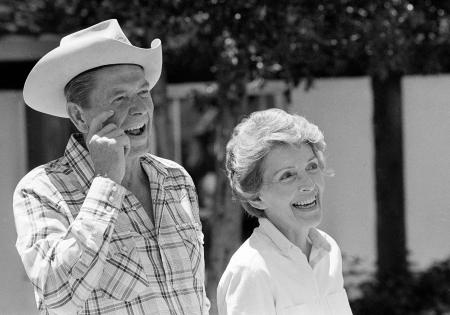 Ronald Reagan and wife Nancy take time away from campaigning for a relaxing ride around their ranch just North of Santa Barbara, Monday, June 29, 1976. Reagan hosted a party for members of the traveling press which included an outdoor barbecue. (AP Photo/Walter Zeboski)