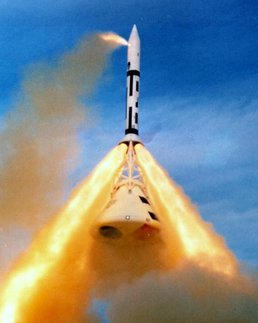 The Apollo crew capsule escape rocket is tested in 1965.
