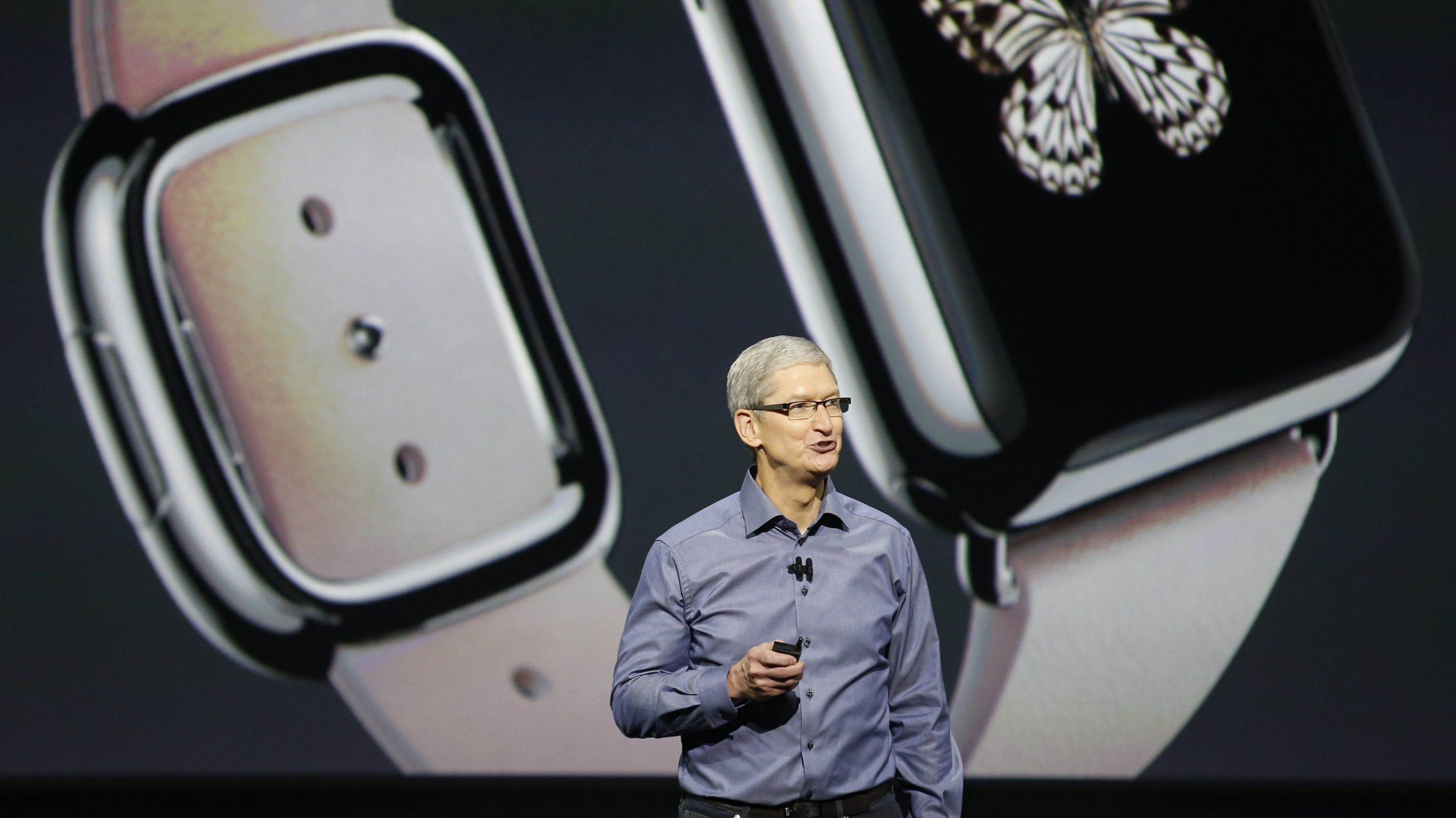 Apple CEO Tim Cook discusses the Apple Watch during an Apple media event in San Francisco, California