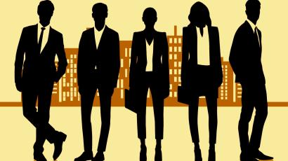 suited silhouettes dressed for business