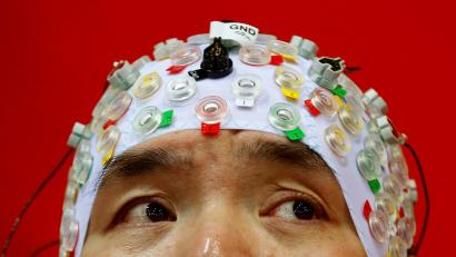 Hong Gi Kim of South Korea competes during the Brain-Computer Interface Race at the Cybathlon Championships in Kloten