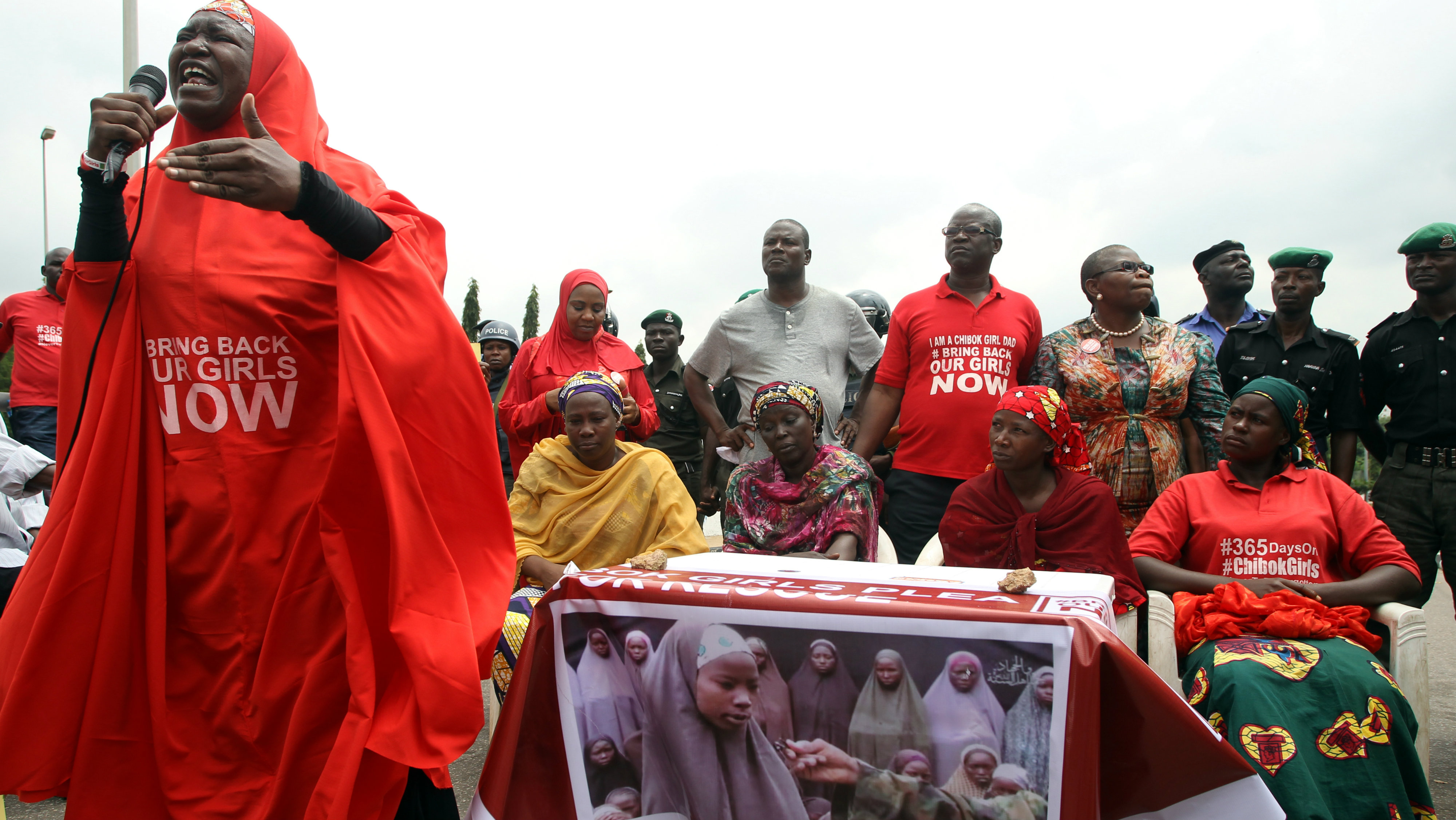 #Bring Back Our Girls (BBOG) campaigners and parents of abducted Chibok girls denied access by police to see President Muhammadu Buhari take part in a rally in Abuja, Nigeria, August 25, 2016.