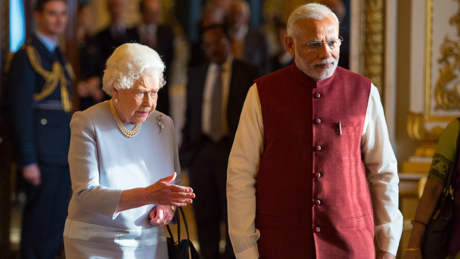 Britain's Queen Elizabeth meets Indian Prime Minister Narendra Modi at Buckingham Palace, London, November 13, 2015.