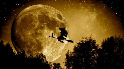 Witch on broom with cat flying across moon.