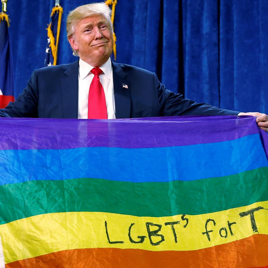 Donald Trump Unfurled A Rainbow Flag With Lgbt Written On It At A Rally In Greeley Colorado To Express His So Called Support Quartz