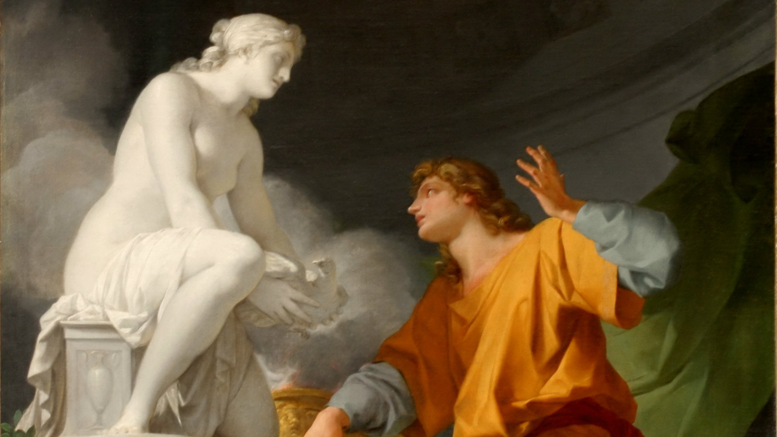 Pygmalion Praying Venus to Animate His Statue, by Jean-Baptiste Regnault in 1786